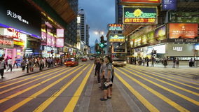 Busy pedestrian crossing on nathan road kowloon hong kong china t lapse stock video footage