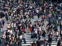 Busy pedestrian crossing at Shinjuku, Tokyo. Royalty Free Stock Image