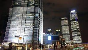Busy pedestrian,urban skyscraper at night,shanghai china. stock footage