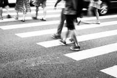 Busy people. Busy city street people on zebra crossing Stock Photo