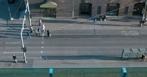Busy People Crossing The Street stock footage