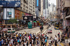 Busy people on street of Hong Kong Stock Photos