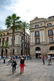 Busy Placa Reial Street Scene, Barcelona, Spain Royalty Free Stock Images