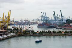 Busy port. Port of Singapore at Harbourfront Stock Photo