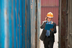 Busy port inspector Stock Photo