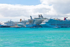 Busy Port in St. Maarten. PHILIPSBURG, ST. MAARTEN - JAN.16: Cruise ships docked on the Dutch side of St. Maarten on Jan. 16, 2013. Philipsburg is one of the Royalty Free Stock Photo