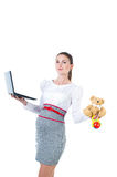 Busy pregnant businesswoman with notebook Royalty Free Stock Photos