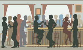 Busy pub bar. Vector cutout illustration of people drinking in a busy bar in daylight Stock Image