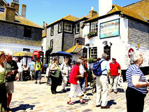 Busy quayside, St. Ives, Cornwall. The quayside in June at St. Ives, Cornwall, England, UK Stock Photos