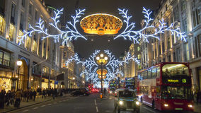 London Christmas decoration 2012. Busy Regent Street in London with 2012 Christmas decoration Stock Image