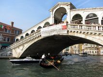 Busy Rialto Bridge Stock Photography