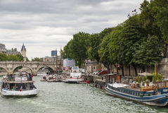 The Busy River Seine - Paris - France Stock Photography