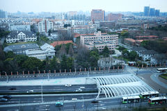 Busy road in front of Fudan University Royalty Free Stock Photo