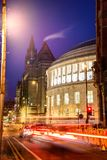 Town Hall Centeral Library Manchester UK. Busy road in front of a Manchester Library Royalty Free Stock Photo
