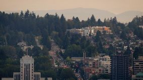 Busy Road On Hillside Outside City stock footage