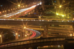 The busy road interchanges at night Stock Photography