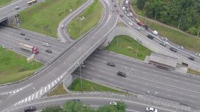 Busy road junction view from above, traffic jam, rush hour. Stock footage stock video