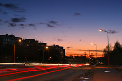 A busy road at sunset Stock Photos