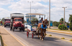 Busy road traffic in Cuba Royalty Free Stock Image