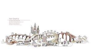 Busy roads illustration City collection, transportation stock illustration