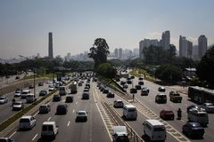 Busy roads, Sao Paulo. Traffic on a multi-lane road in Brazil Stock Photos