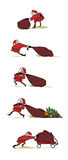 Busy Santa. Hurts his back while carrying a bag of present.  tries to drag and move the bag and shake his knees.  dragging his bag and it get ripped.  push a Stock Illustration