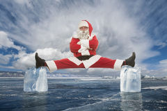 The busy Santa Claus before the holidays, strength and endurance Royalty Free Stock Photography
