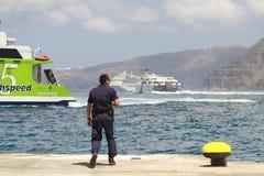 Busy Santorini seas Stock Images