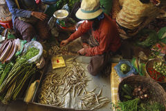 A busy scene of shoppers and market vendors in Siem Reap Market Royalty Free Stock Photo