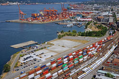 Busy seaport Stock Image