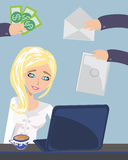 Busy secretary woman managing her work. Illustration Stock Photography