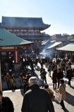 Busy Sensoji, Tokyo. Sensoji temple in Asakusa, Tokyo, bustling in the morning with visitors Royalty Free Stock Photo