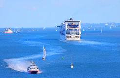 Busy shipping lane. The Solent is a busy shipping lane on the English channel, UK Stock Photography