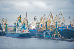 Busy shipping port. A detailed shot of a very busy shipping port stock photos