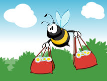 Busy shopping bee. An illustrated view of a large bee flying and carrying two full shopping bags. Concept: busy shopping bee. Available in vector format stock illustration