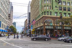 Busy shopping and business Market Street in San Francisco, California royalty free stock photo