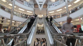 Busy shopping mall stock video footage