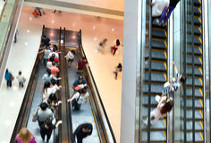 Busy shopping mall. With busy escalators Stock Photography