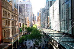 Busy shopping street in centre of Sydney. Royalty Free Stock Images