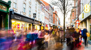 Busy shopping street 3 days after Christmas Royalty Free Stock Image