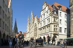 Busy shopping street, Lambertus church, Münster Stock Image