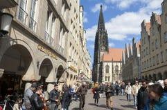 Busy shopping street, Lambertus church, Münster Stock Photography