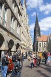 Busy shopping street, Lambertus church, Münster Stock Photo