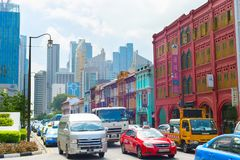 Busy Singapore road traffic Royalty Free Stock Photos