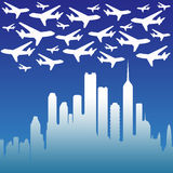 Busy skies. Due to evergrowing airplane travel vector illustration