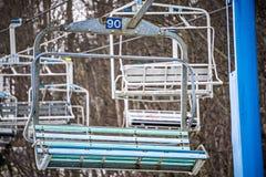Busy skiing season at a winter place ski resort Stock Photo
