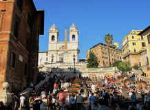Busy Spanish Steps in Rome Royalty Free Stock Photography