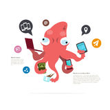 Busy squid character. management concept. social network icon - Stock Photo