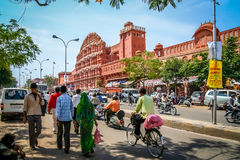 Busy streen in front of Hawa Mahal Stock Images