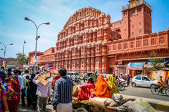 Busy streen in front of Hawa Mahal. L, The Palace pf Winds, Jaipur, Rajasthan, India Stock Photos
